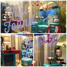 """Yummy window displays from a furniture and home decor resale shop. TGtbT.com says """"Notice the lighting... that's key to how enticing these vignettes appear!"""""""
