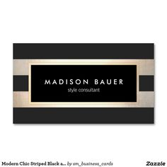 Modern Chic Striped Black and FAUX Gold Foil Double-Sided Standard Business Cards (Pack Of 100) - Great for makeup artists, interior designers, hair stylists, salons, fashion boutiques, cosmetologists and more.