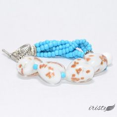 $12 White Glass Hearts and Turquoise Beaded Bracelet