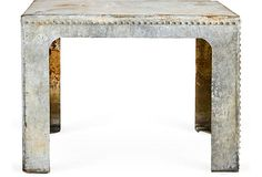 Aluminum Studded Table. Hot diggity I want this.