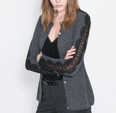 Zara Angora Cardigan Sweater with Lace Sleeve Size Medium