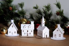 Create a beautiful set of Glitter House decorations with my new 2015 DIY Putz House Christmas Village Ornament Kit! This paper craft kit includes 4 NEW glittery Putz House designs + Green or White Diy Christmas Village, Christmas Villages, Christmas Home, Christmas Crafts, Christmas Decorations, Christmas Ornaments, Christmas Glitter, House Decorations, Holiday Decorating