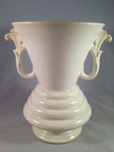 Vintage Art Deco Red Wing Art Pottery Rumrill Vase 631 Matte White Handled   eBay