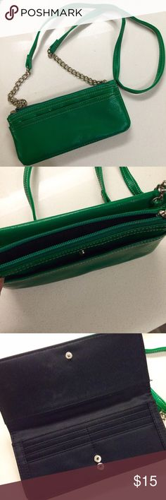 Green Faux Leather Wallet Crossbody Bag Worn once. Crossbody / Wallet on a chain. Has room for a checkbook, credit card slots, your phone, and more!! NO TRADES!!  Mossimo Supply Co. Bags Crossbody Bags