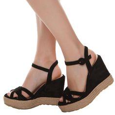 Sandália anabela corda - preta