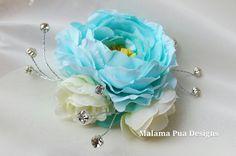 TROPICAL HAIR CLIP Tiffany Blue Rose Blue Ranunculus by MalamaPua, $39.99