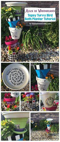 DIY Alice in Wonderland Topsy Turvy Bird Bath Planter Tutorial by SometimesCrafty.com