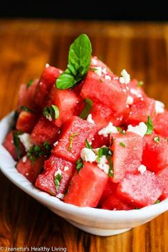 Watermelon Mint Aged Goat Cheese Salad - Sweet and salty, this summer salad is refreshing and has just 3 ingredients.