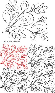 SCF-158 Ribbons-Leaves quilting design
