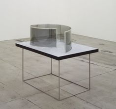 skt4ng:  DAN GRAHAM Spiral for a lake site (2011)2-way mirror glass and aluminium41 x 130 x 90 cm
