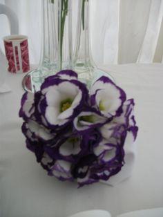 Purple edged lisianthus bridesmaids bouquet