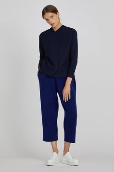 Nesa Cashmere Blend Cropped Trousers in Berry Blue Fall Winter, Autumn, Cashmere Wool, Cropped Trousers, Unisex Fashion, Wardrobe Staples, Merino Wool, Wool Blend, Navy Blue