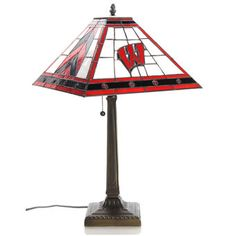 """Wisconsin Badgers 23"""" Mission Tiffany Table Lamp"""