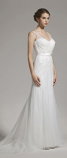 Beaded Wedding Dress with ribbon sash belt \ Designer Wedding Dress with Illusion Shoulder Straps and a mild train \