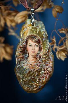 """Кулон """"Портрет по фото"""" - золотой,подарок,портрет,камень,агат,образ,Живопись"""