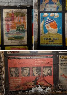 Posters in Abandoned London Tube Station, 1956 to 1959