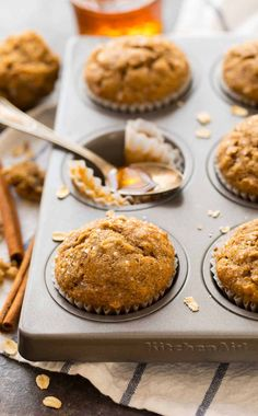A delicious and healthy recipe for Healthy Applesauce Muffins with oatmeal, cinnamon, and honey. Easy to make with no sugar and no butter! The perfect healthy muffins for kids and grown-ups too! {gluten free, vegan} #appesaucemuffins #oatmeal #nosugar #healthy Healthy Muffins For Kids, Healthy Muffin Recipes, Healthy Baking, Healthy Desserts, Healthy Nutrition, Nutrition Tips, Eat Healthy, Nutrition Websites, Healthy Cake