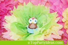 Owl Party Decoration: Tissue  Flower Nest - Fan out into a nest