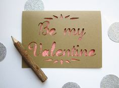 Be My Valentine - Paper Cut Greeting Card - pink. $7.00, via Etsy.