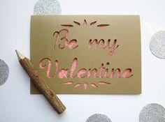Be My Valentine - Paper Cut Greeting Card