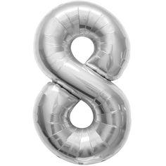 Helium ballon cijfer 8 zilver. Een zilverkleurige folie ballon in de vorm van het cijfer 8. De ballon wordt gevuld met helium bij u bezorgd. De ballon is opgeblazen ongeveer 86 cm groot. Deze folie ballon wordt gevuld met helium geleverd en kan derhalve niet worden geretourneerd.