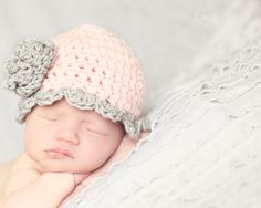 Newborn Baby Hat with Scalloped Edging and  Rosette-Pastel Pink and Light Grey own or choose your own Colors - Photography Prop. $10.99, via Etsy.