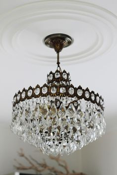 Lighting in dining Room. Get rid of regular lighting and find a one of a kind, unique, awesome vintage Chandelier from an antique, vintage, thrift shop. Ideal to have hanging crystals.
