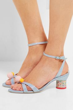 Crystal-embellished heel measures approximately 55mm/ 2 inches Metallic-blue jacquard  Buckle-fastening ankle strap Imported