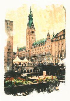 'Hamburg+Rathaus+mit+Rathausmarkt'+von+liga-visuell+bei+artflakes.com+als+Poster+oder+Kunstdruck+$17.33