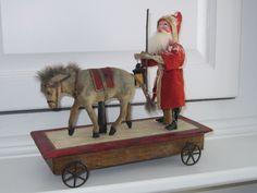 Antique German Mechanical Santa and Donkey Pull Toy. German Christmas, Old Fashioned Christmas, Antique Christmas, Christmas Past, Primitive Christmas, Vintage Christmas Ornaments, Father Christmas, Christmas Toys, Country Christmas