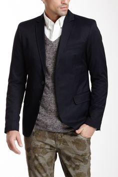 camo pants have made a come back in small patterns. Pair with a navy blazer