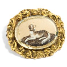 "Antique Gold Brooch with sepia miniature of a dog, engraved with: ""Helen David & Alex. Hepburn Brown 1835"""