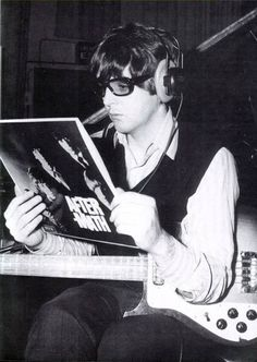 Paul McCartney with Rolling Stones Aftermath Record Album