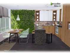 Nature In modern kitchen by SIMcredible at TSR via Sims 4 Updates