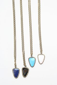 Beklina : Kathryn Bentley Enamel Pendant $160. in blue or black, brass chain