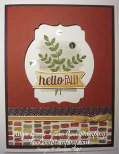For All Things: Recessed Deco Window - fall, autumn, leaves, color me autumn, gold sequins, stamp of the month, stampin up, cards  Details at www.toocoolstamping.com