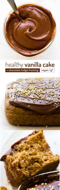 This 5-ingredient party-perfect vanilla cake recipe is healthy disguised as decadent underneath a luscious layer of sugar-free chocolate fudge frosting! #vegan #glutenfree #lowfat