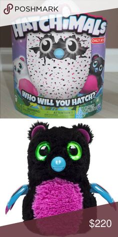 HATCHIMAL pink and black target exclusive nwt Pink /Black Bearakeet Hatchimal only available at Target!  Hatchimals are magical creatures that live inside of eggs. Who's inside? It's a surprise! Each egg contains one of two interactive Hatchimals. Hold them to hear their heartbeats, flip them for fun, tap and they'll tap back! Hatchimals can't hatch without you! Love and care for your Hatchimal inside the egg and its eyes will light up as it makes cute sounds, telling you how it's feeling…
