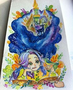 """#Repost @pocutayasofia  """"Read to Explore your own World"""" . #Watercolor on paper . you can also write the message/quotes on galaxy or blue space. . The artwork detail on the video @hello2madison  @tamanbacainovator . #tamanbacainovator #2madison_readingart #2madison #ayomembaca #aceh #art #aquarelle"""