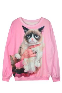 Pink 3D Cat Sweater