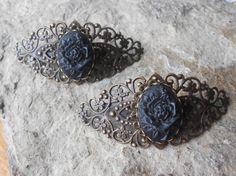 Choose Bronze or Silver  Black Rose Cameo by THEPROUDBUFFALO