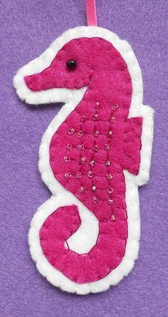Fuschia felt seahorse ornament