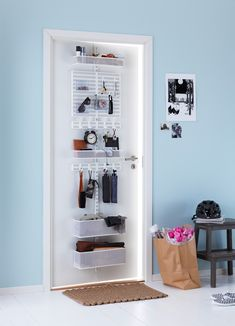 Using every space for storage is key. The Elfa over door hook set helps you secure an upright to your door then mix and match your… Hallway Storage, Storage Spaces, Locker Storage, Behind Door Storage, Storage Ideas, Storage Systems, Elfa Shelving, Door Locker, Tidy Room