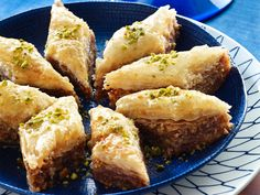 #Baklava was held as a special dessert for those in high positions of society such as monarchs and kings. The basic ingredients of Baklava are nuts, flat bread (phyllo) and syrup or honey. Syrup with rose water and cardamom would most likely be from the Arab countries. #desserts #sweet