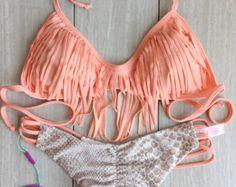Its Back!! Peach And Sand Snake Fringe bikini set By BEACH BABE SWIMWEAR