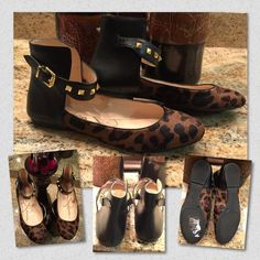 Jessica Simpson Munney-2 Flats Women's Shoes Jessica Simpson MUNNEY 2 Studded Ankle Strap Flats.  Material Synthetic leather and synthetic printed calf hair uppers.  Gold-toned hardware accents with studs. Jessica Simpson Shoes Flats & Loafers