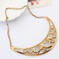 031 Hollow peach necklace crescent necklace ,cheap fashion necklace shop at www.costwe.com