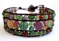 Jasper leather beaded wrapped cuff.