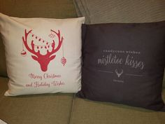 Holiday pillow & charcoal laser etched pillow.