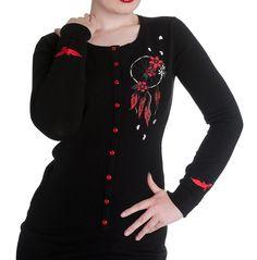 HELL BUNNY Ladies AIYANA Cardigan Top Black Goth Dreamcatcher S 10